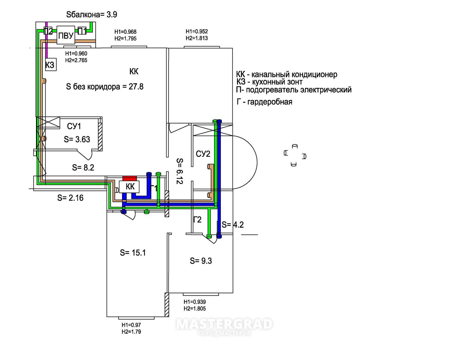 Схема с канальным кондиционером