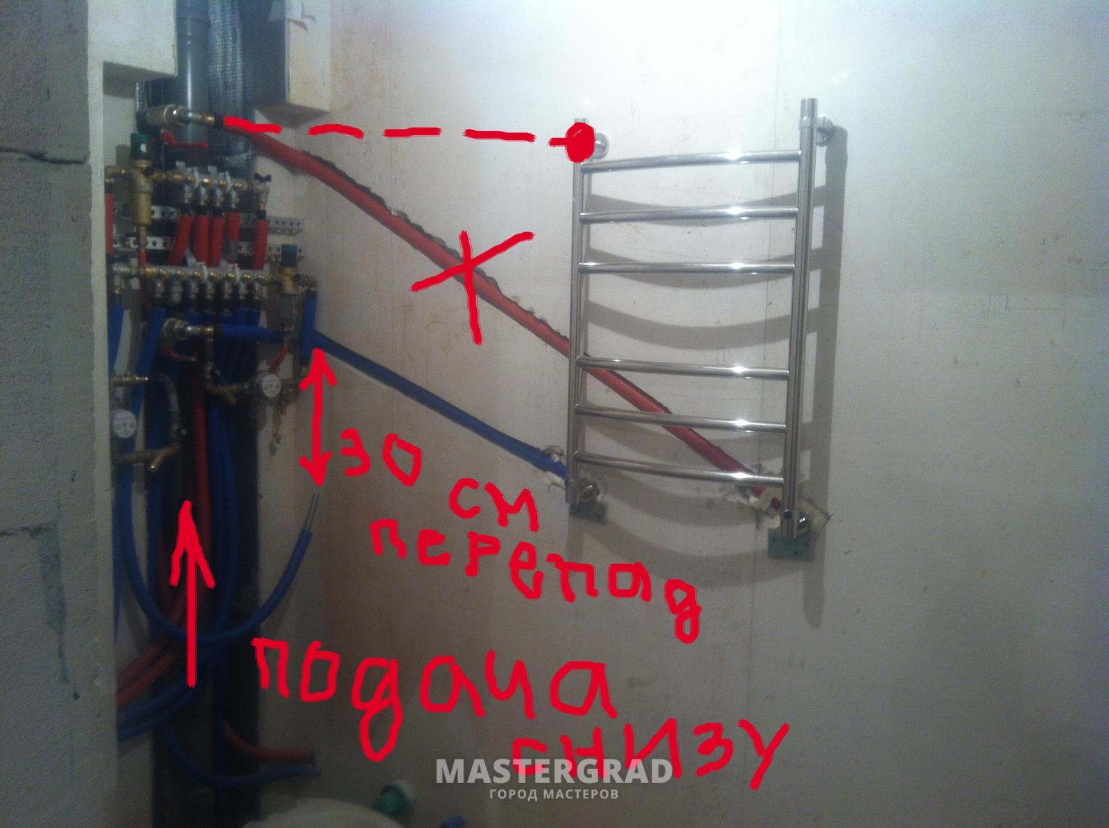 Подключение полотенцесушителя к стояку горячей воды схема фото