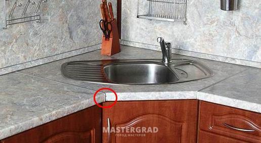 Столешница для кухни раскрой угла заказать подоконник из искуственного камня Румянцево