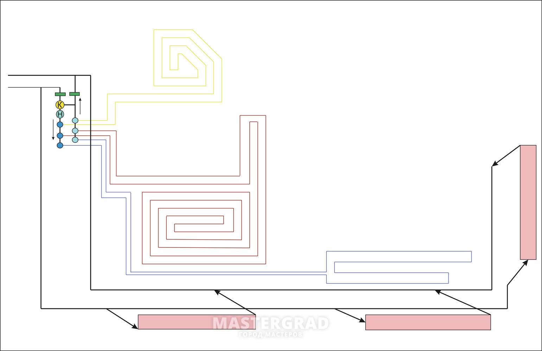 схема колектора тёплогопола