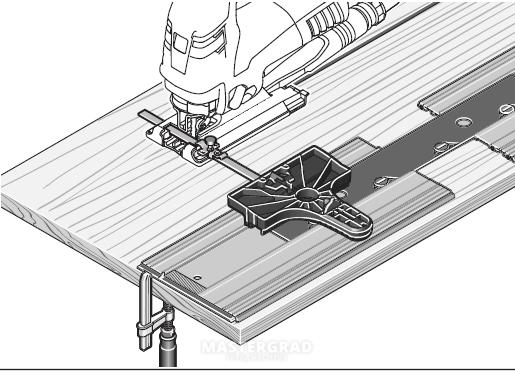 Uso de la guía para sierra caladora para anchos mayores utilizando una madera como suplemento