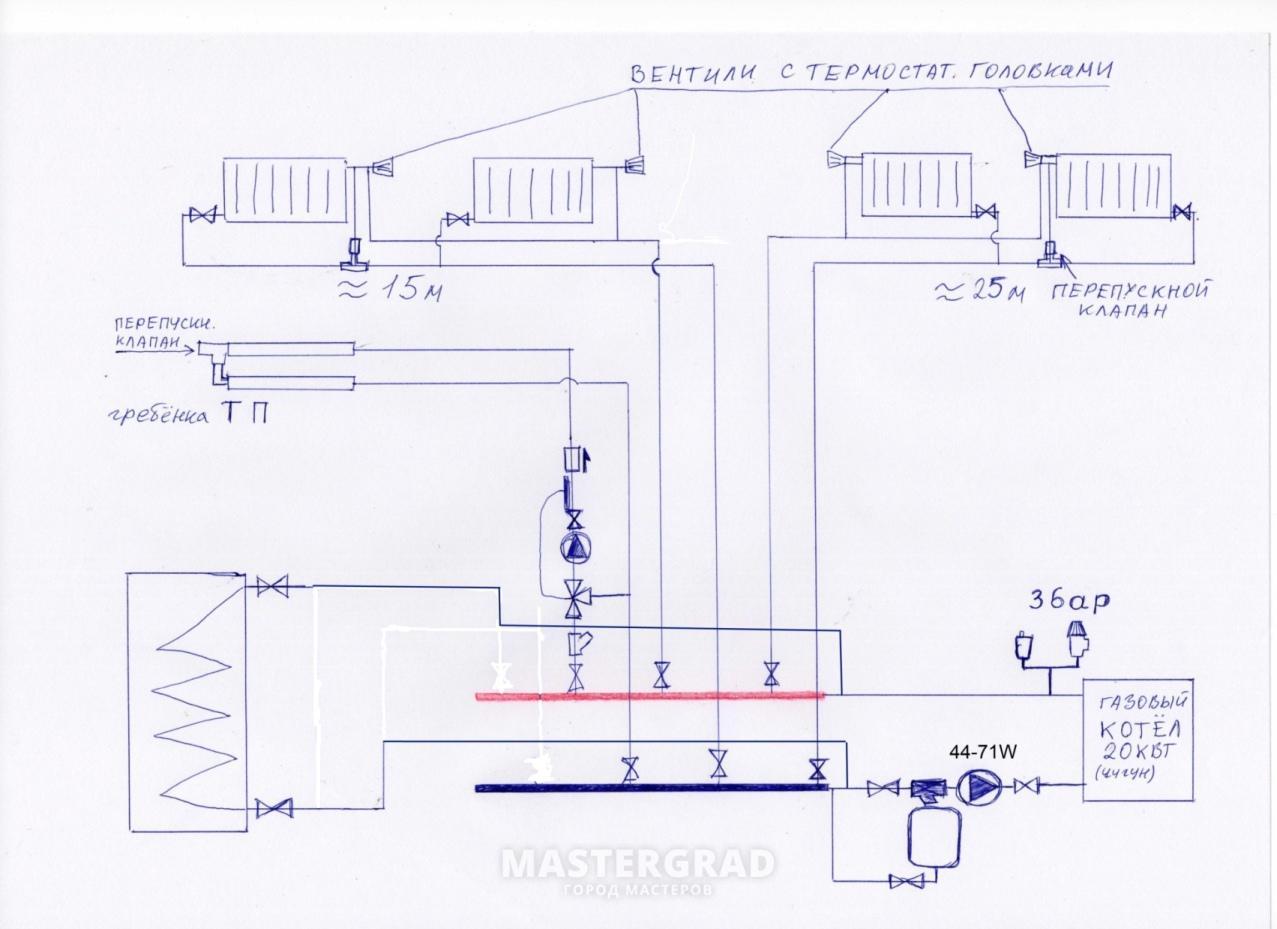схема самодельного водонагревателя с теном и насосом