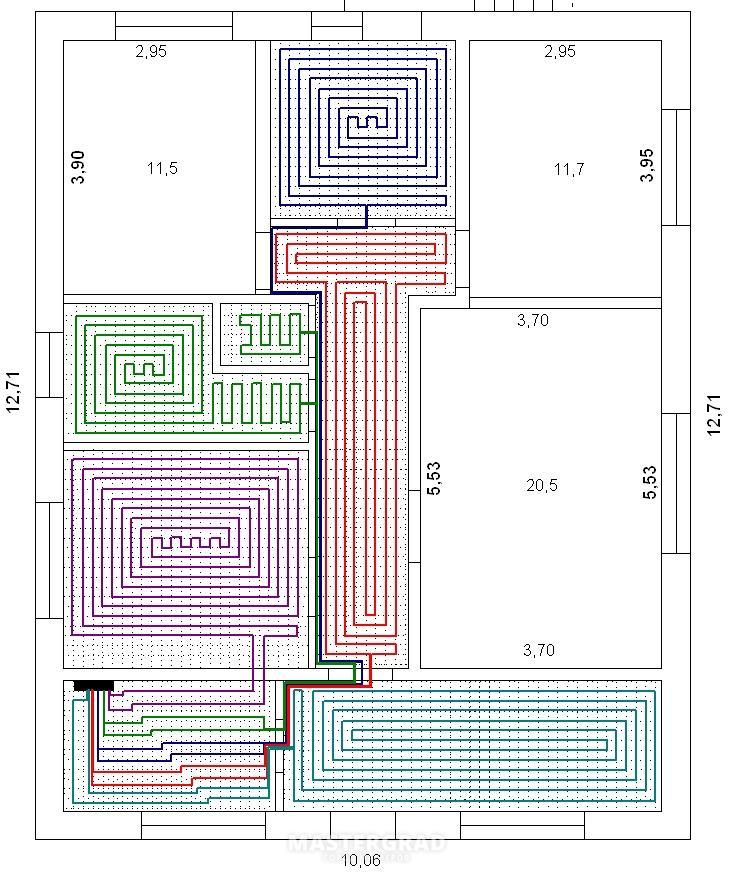 Схема водяного пола частного дома своими руками 383