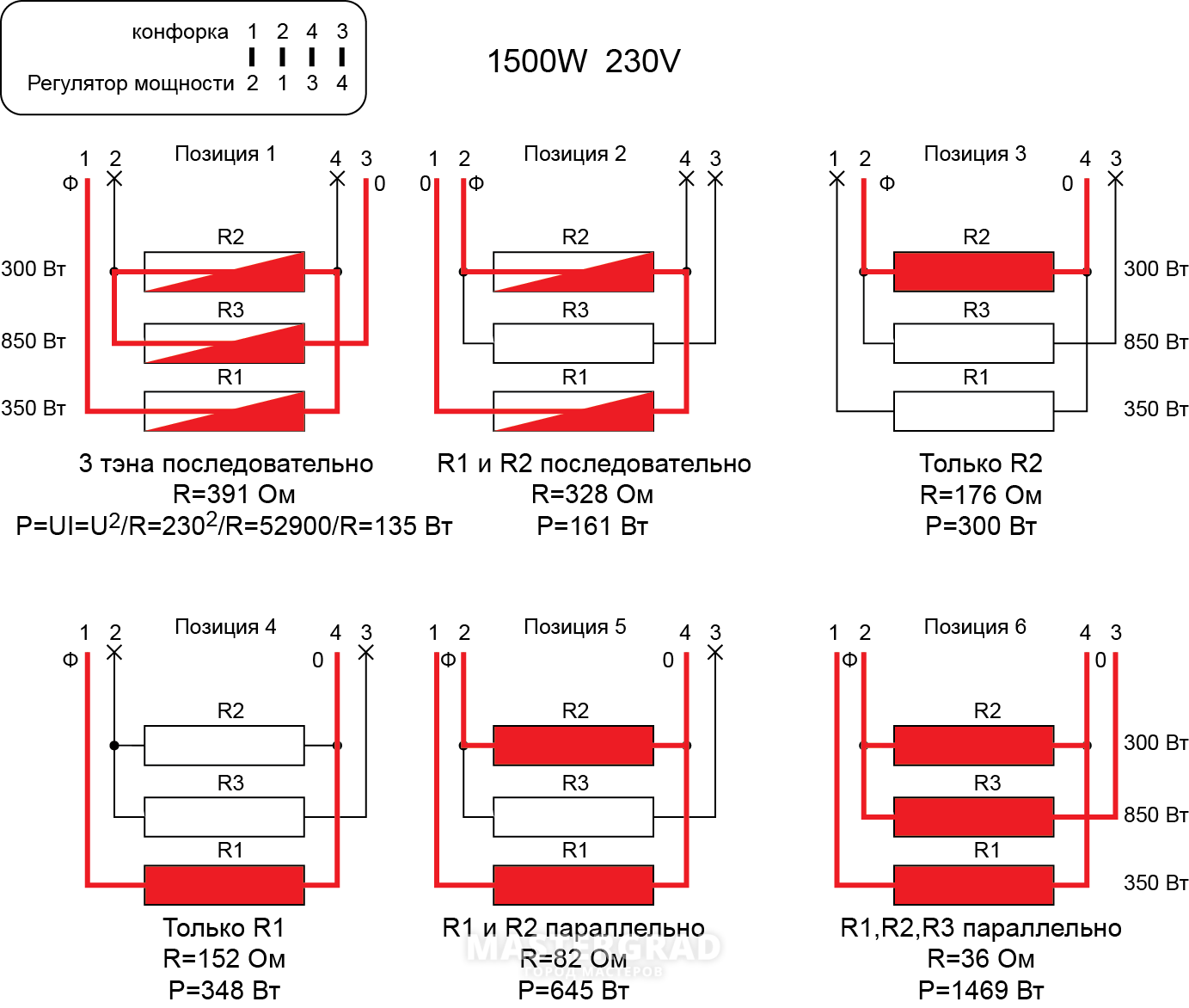 Схема подключения конфорки электроплиты с 4 контактами