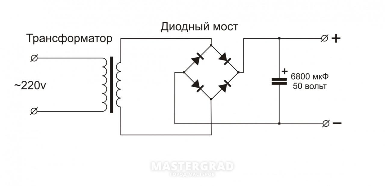Схема подключения диодного моста на зарядном устройстве