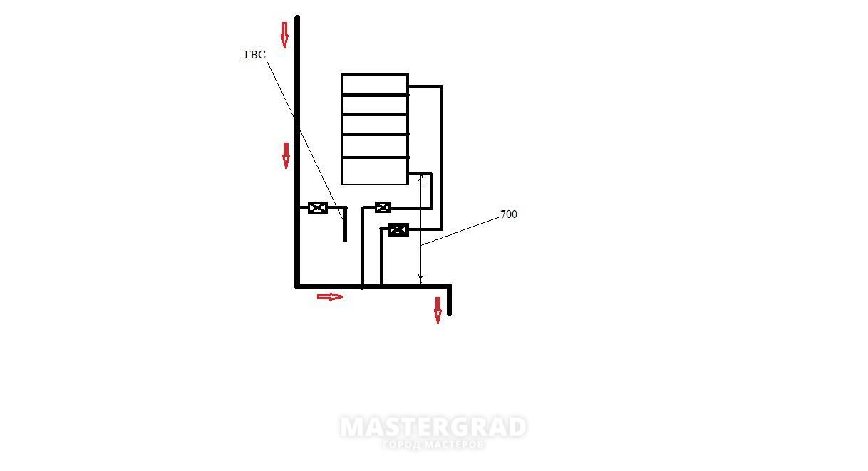 схема нижнего подключения полотенцесушителя