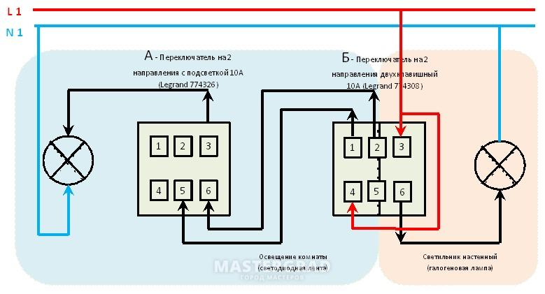 Переключатели legrand схема подключения