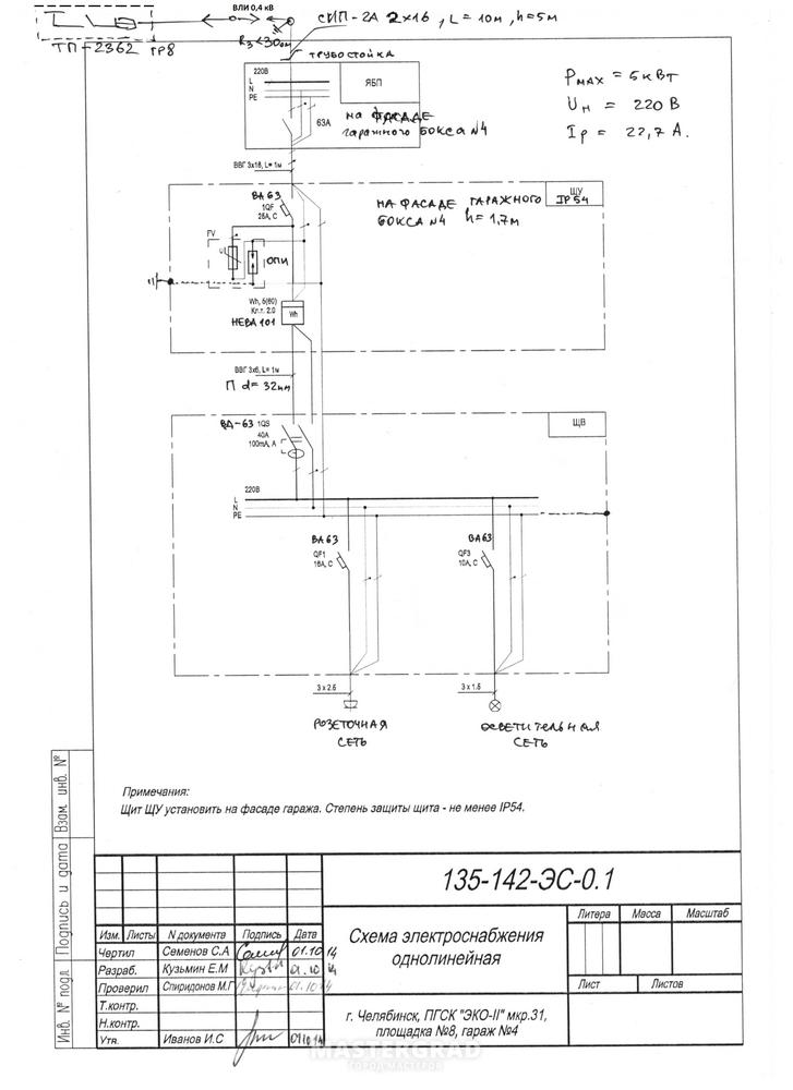 Схемы электроснабжения в гараже