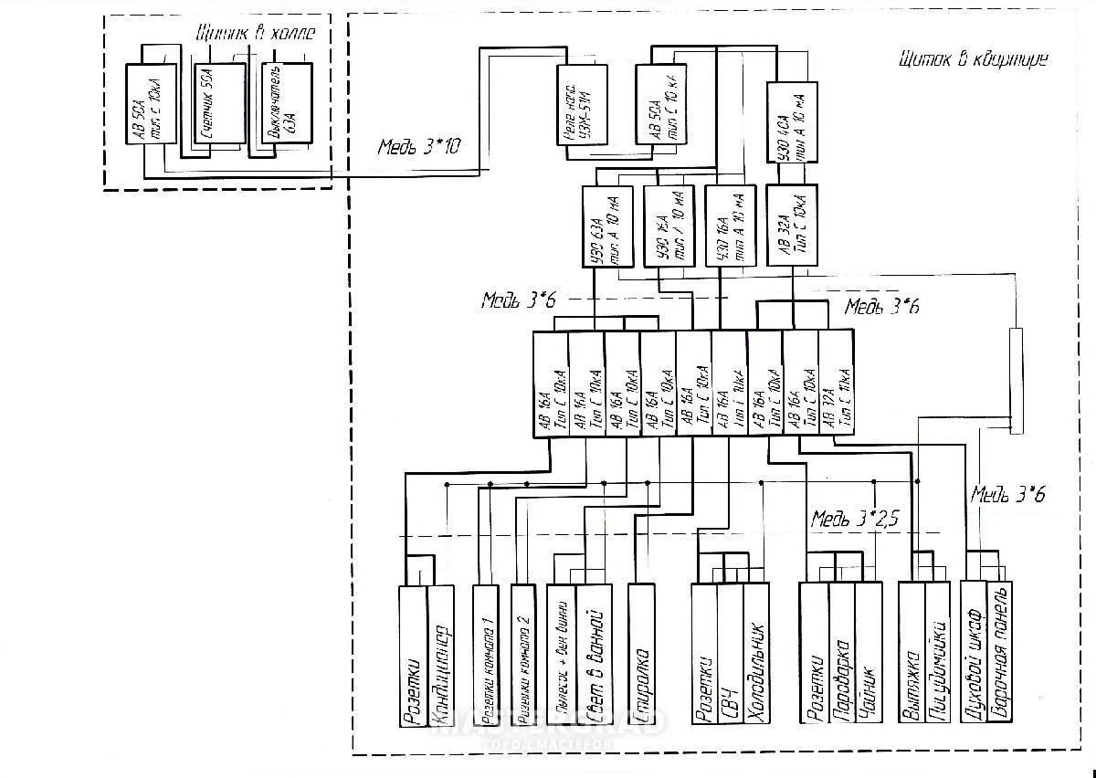 Схема разводки п-44