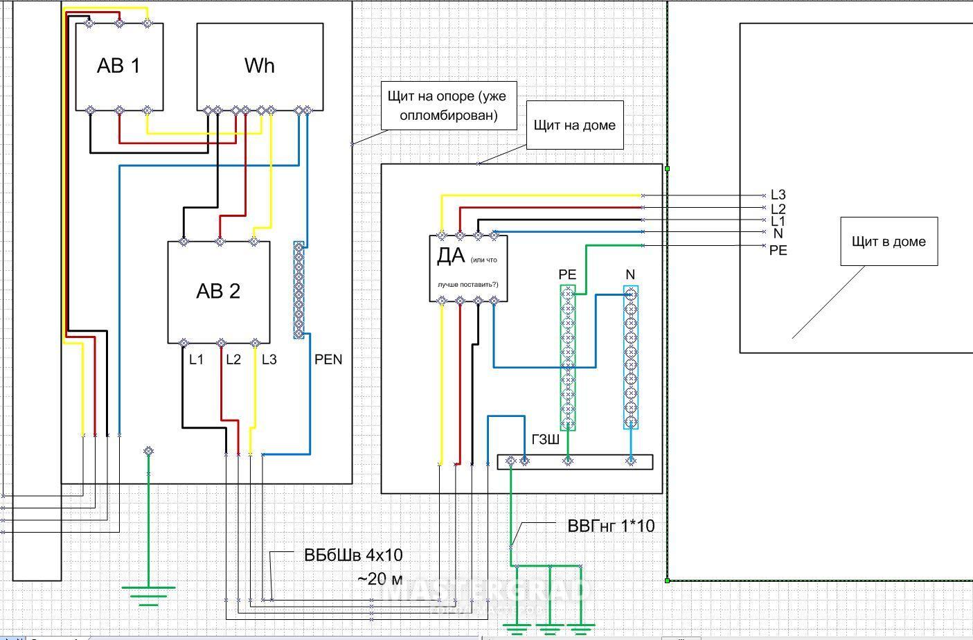 Схема щита для частного дома