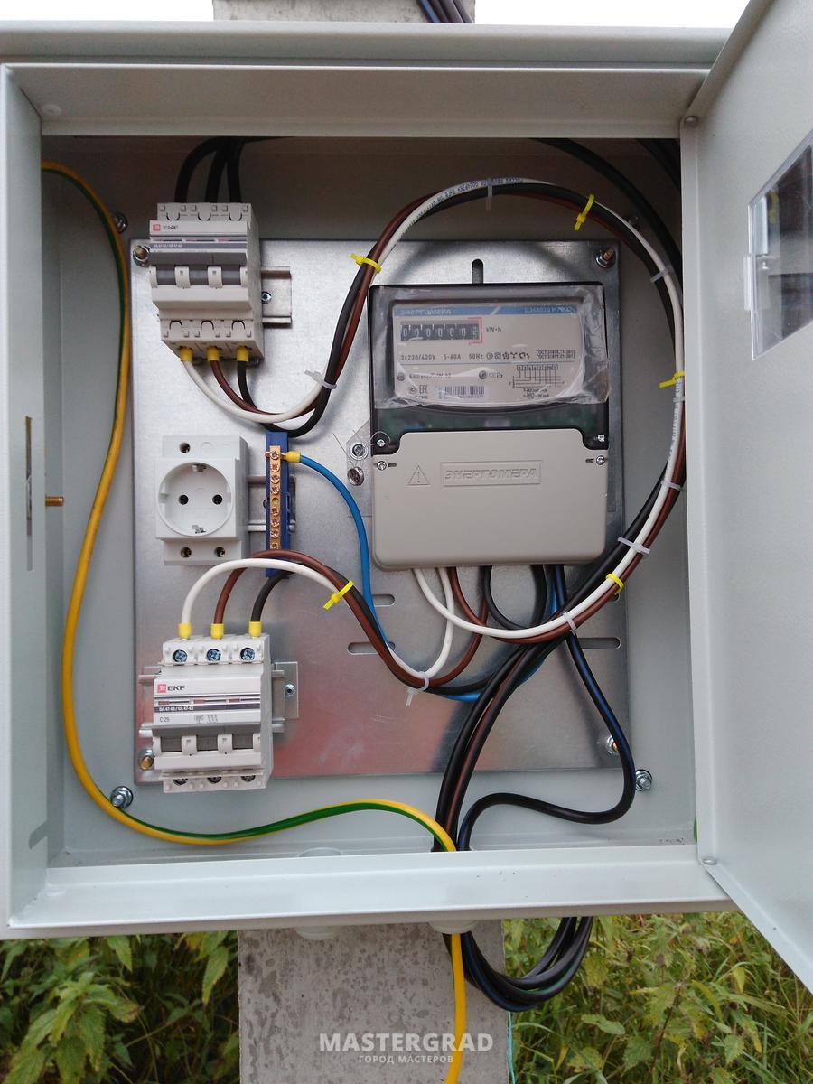 Электрощиток на столб схема