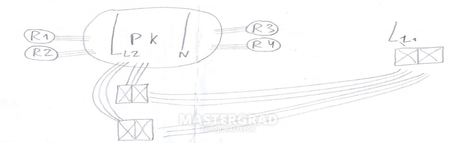 два двойных проходных выключателя схема подключения