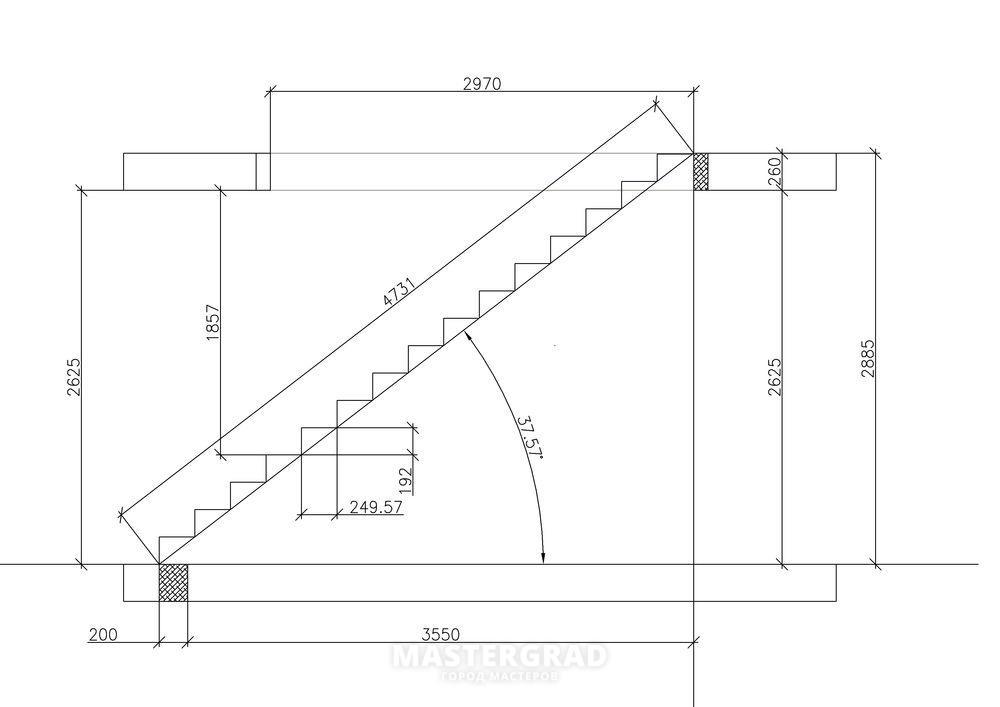 Расчет лестницы на второй этаж в частном доме своими руками схема фото 9