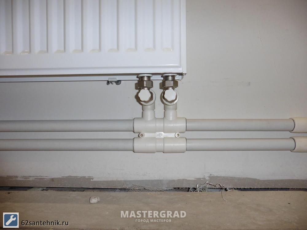 Монтаж радиаторов с нижней подводкой своими руками 17