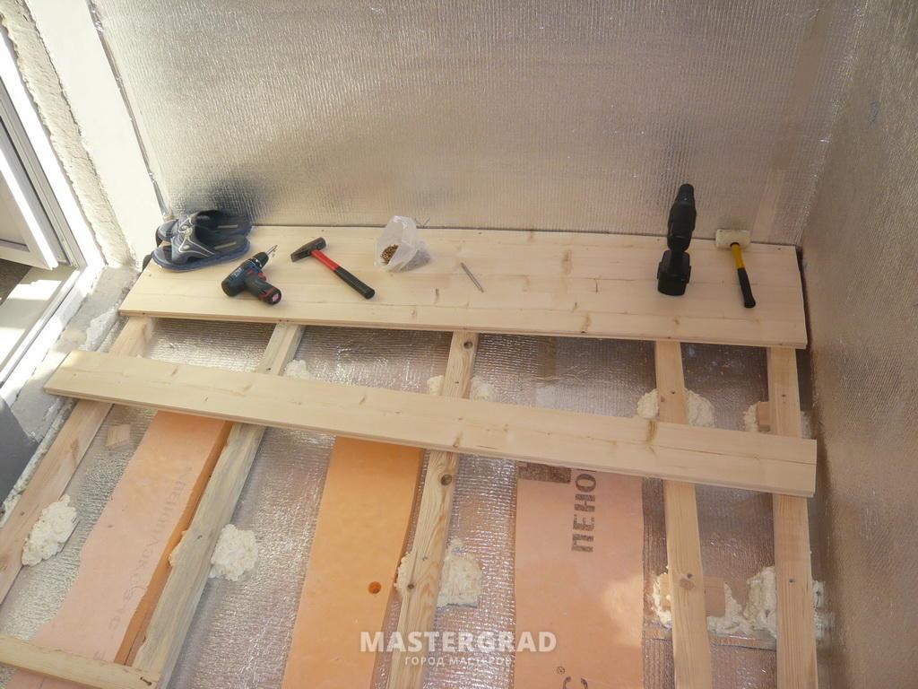 Как сделать пол на балконе из доски 500