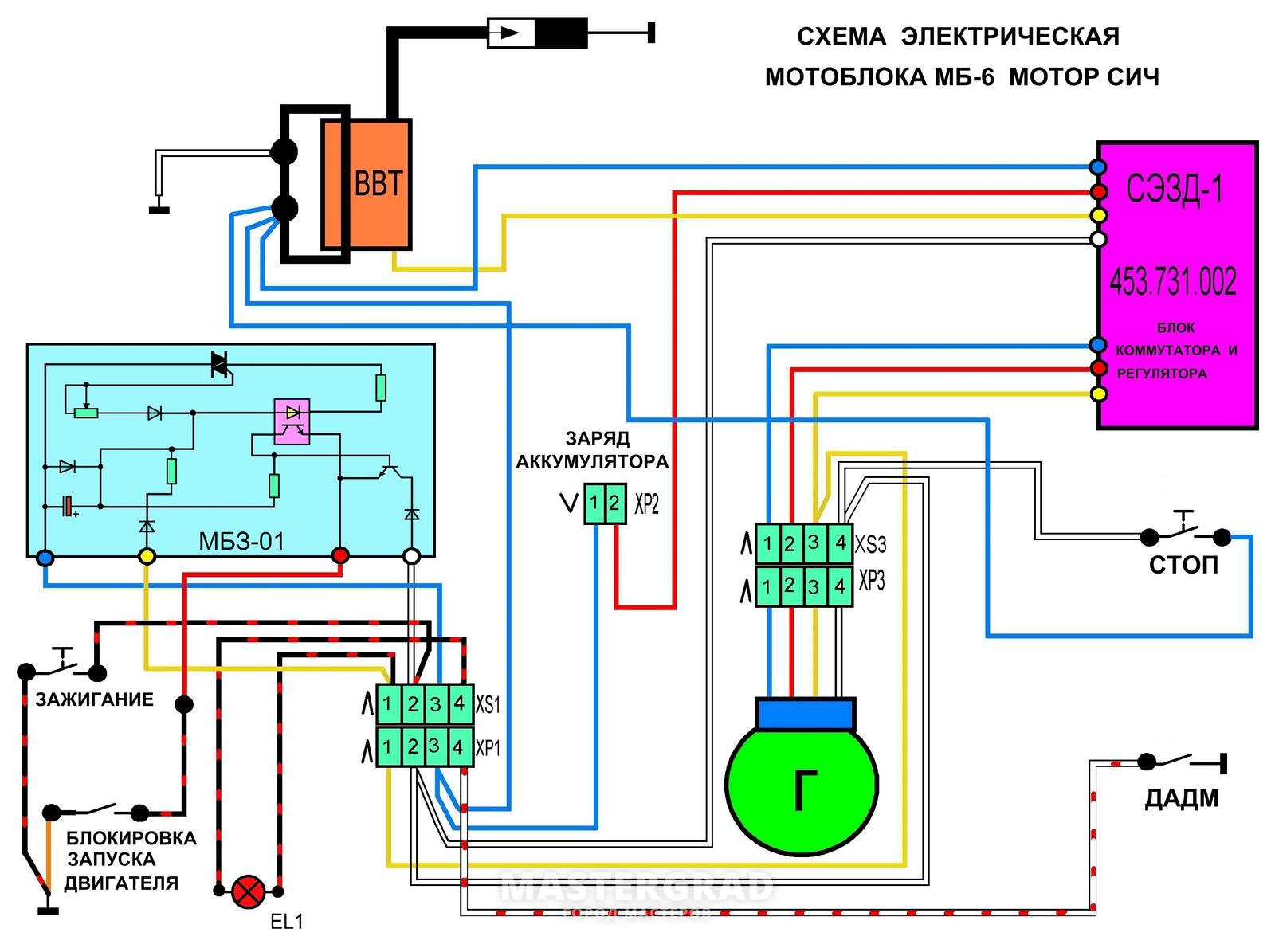 схема проводки мотоблока форте