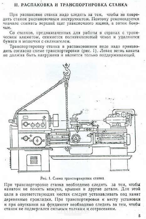 Схема строповки станка 1К62 на