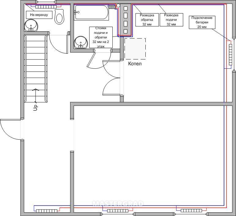 Схема отопления 2-х этажного