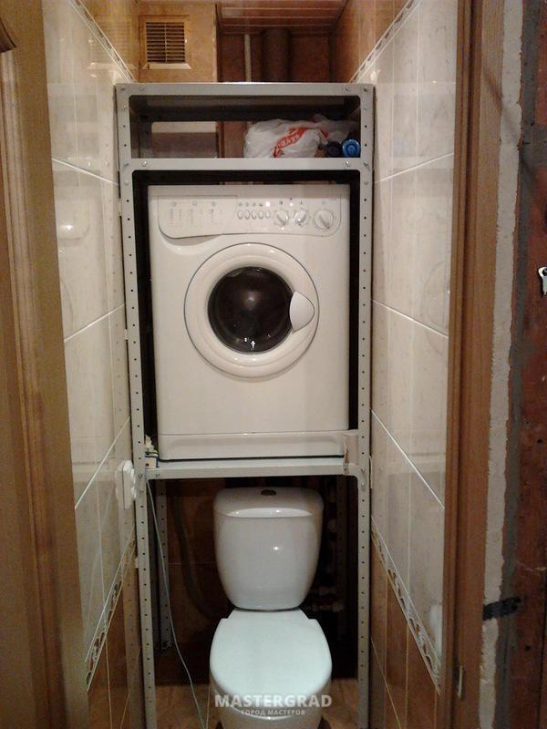 Стиральная машина в туалете фото